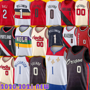 Damian 0 Lillard Zion 1 Williamson Jersey Portlands Lonzo 2 Ball Brandon 14 Ingram Carmelo 00 Anthony Jerseys New Men Orleans Basket