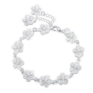 Nuevo llega hermosa pulsera noble cadena de flores moda boda fiesta plata linda dama agradable mujeres pulsera joyería lh013 h sqcjyl