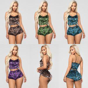 Leopard Estampado Verano Mujer Pijamas Conjuntos Camisetas Camisetas Tops Pantalones cortos Trajes de dos piezas Playa Casual Casual Tracksuit Club Club Ropa Casa Use H2510