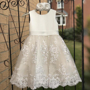 White First Holy Communion Dresses Satin A-line Vestido Novia Wedding Party Kids Ball Gowns Tulle Lace Flower Girl Dresses