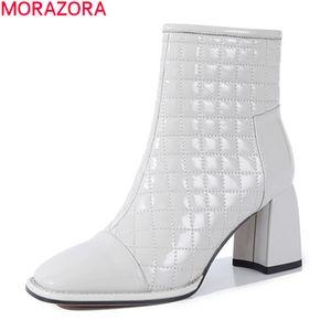 MORAZORA 2020 bottes en cuir véritable automne bottines d'hiver pour femme épaisse hauts talons bout carré femmes noires
