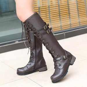 Woman Shoes New Steampunk Gothic Vintage Style Retro Punk Buckle Combat Winter Boots Fashion Women Shoes Leather Boots