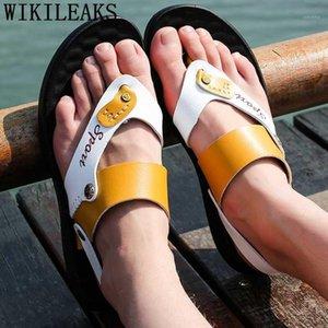 Flip Flops Homens Sapatos de Verão Sandálias de Praia Sandálias de couro Homens Sapatos Ao Ar Livre Heren Schoenen Sepatu Pria 20191