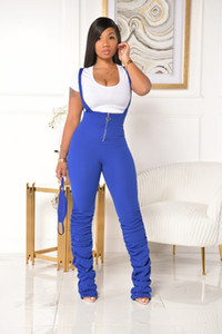 High Waist Stacked Womens Jumpsuits Solid Color Spring Autumn Sling 3 Colors Option Women Designer Rompers