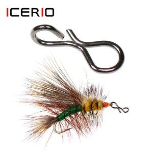 ICERIO 50pcs Fly Pesca SNAPS Conector Cambio rápidamente para ganchos y señuelos Moscas AccessRies Q0104