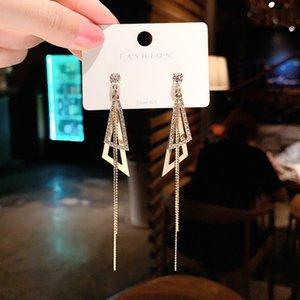 925 Silber Nadel Kälte Stil Geometrische Strass Dreieck Lange Ohrringe Womens Koreanische Mode Anmustra Online Influencer Quaste Ohrringe
