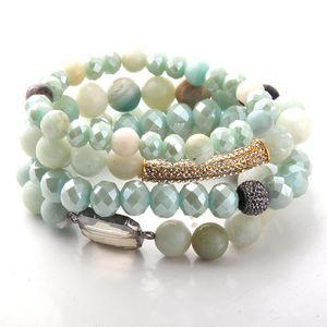 Fashion Beautiful 4pc set Blue Bracelet Sets Natural Stone & Glass Crystal Pave Bracelets