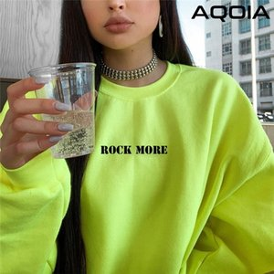 AQOIA Harajuku O-Neck Long sleeved Loose Letter Fluorescent Green Sweatshirt Women Autumn Winter Thick Pullover Clothing 201204