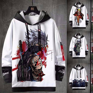 Naruto Print Hoodie Men Women Autumn Winter Sasuke Sweatshirt Harajuku Japan Hoodie Coats Streetwear Hip Hop Cartoon Hoodie Boys 201016