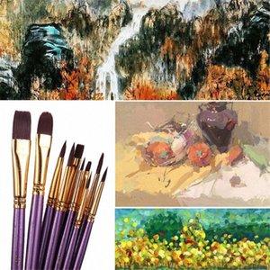 10PCS / مجموعة القلم المائية الرسام نايلون الشعر مدببة الفنان زيت صورة زيتية فرشاة مجموعة QJY99 DY2V #