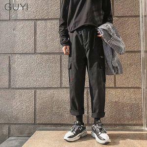 GUYI Black Solid Cargo Pants Men Khaki Ankle Length Pockets Tactical Pants Male Fashion Casual Streetwear Cotton Hip Hop Bottoms