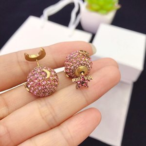d home / Dijia Seiko Hohe Version Mond-Stern-Diamant-Ohrringe weibliche Bronze vergoldet Ohrringe