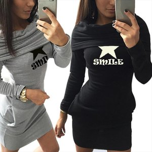 Womens Autumn Slim Hoodies 2020 Five pointed Star Print Piles Collar Fleece Pullovers Long Sleeve Sweatshirts Streetwear Tops
