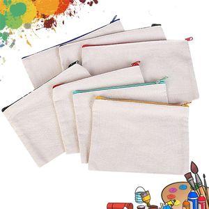 blank canvas cosmetic bags zipper bags pencil bags blank DIY craft pouches pencil case coin case customized canvas bag LJ201008