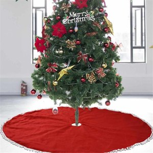 Red Christmas Tree Skirt 122cm Round Carpet Christmas Party Decorations for Home Holiday New Year 2020 Tree Skirts