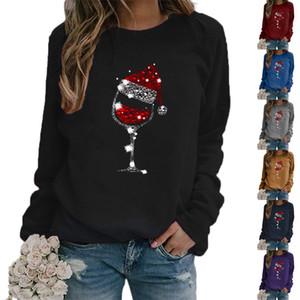 Las mujeres sombrero de navidad de cristal rojo de vino de impresión con capucha Ronda de Otoño Invierno de manga larga de cuello con capucha para mujer Tops sudadera camisetas