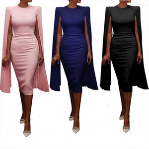 2021 new Fashion Summer Cape shoulder Elegant Women Dress UK Party Dress Drop Shipping Good Quality