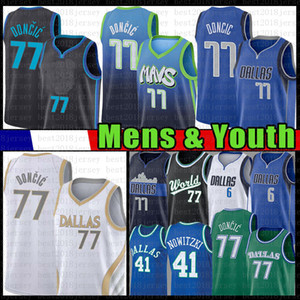 للرجال Luka Youth Kid's 77 Doncic Basketball Jersey Kristaps 6 Porzingis Dirk 41 Nowitzki 2021 جديد أزرق أزرق الفانيلة