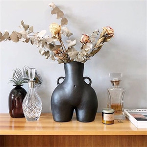 BAO GUANG TA Arts Girl Bust Vase Decor Interest Ass Statue Woman Model Flower Pot Home Decoration Accessories Gift LJ201209
