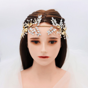 Vintage Headband 2020 Newly Gold Leaves Pearls Beaded Charming Bridal Wedding Hairwear Ribbons accessoire cheveux mariage H445
