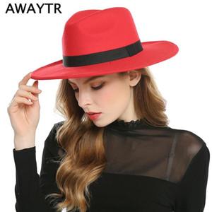 AWAYTR Fashion Superstar Herbst Weit Wolle Krempe Jahrgang Filzhüte Frauen Fedora Männer Hut Jazz Hats Sombrero Chapeau Femme