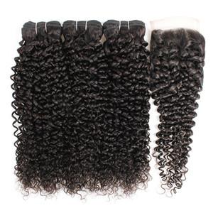 Kisshair 9a человеческие пакеты волос с 4 * 4 кружева закрывают воду вьющиеся тела девственницы наращивания волос глубокие свободные прямые прямые jerry kinky remy ткачество