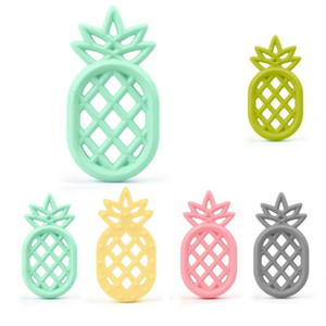 Silicone abacaxi Teether Teether BPA Livre Silicone Pingente Mastecorário Ananas Teether Chupeta Corrente Pingente Sensory Chewable Toy Owe4590
