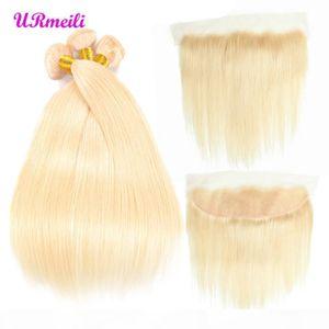 613 блондинки пучков с фронтальными перуанскими волосами девственницы блондинка 3 пучка с закрытием ремил прямые человеческие волосы Dhgate пучки с фронтальным
