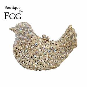Boutique de fgg Crystal AB роскошные сумки женщины птица вечерние сумки металлические Minaudiere Wedding Party Bolsos de Noches 201204