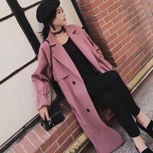 Kadın Trençkot 2021 İlkbahar Sonbahar Kore Stil Vintage Gevşek Uzun Ceket Kadınlar Kruvaze Rüzgarlık Rahat Giyim Kadın FY54