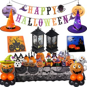 2020 Happy Halloween Party Decoration Paper Garland Banner pumpkin ghost Foil Balloons Wizard Hat for Halloween Party Supplies