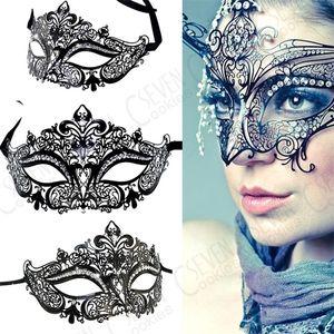 Fashion 2 Color Metal Filigree Venetian Beautiful Luxury Masquerade Mardi Gras Party Sexy Eye Mask Macka with Rhinestones 1007
