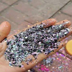 Nagelglitter 1bag (50g) 1/2 / 3mm / 0,2 mm Quadratische Formen Pailletten Gemischte holographische Flocken Pulver Bunte funkelnde Maniküre Staub