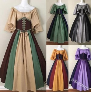 European and American retro contrast color stitching flying sleeves lace-up waist big skirt one-shoulder dress dress women