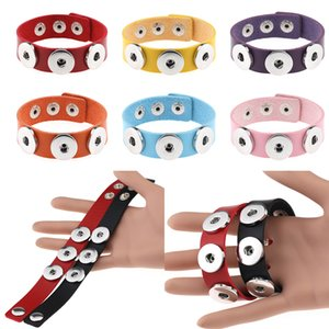 New Snap Button Bracelet Bangles 14 color High Quality PU leather Bracelets For Women Snap Button Jewelry Party Gift w-00374