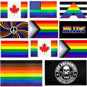 90x150cm Filadelfia phily recto del aliado progresar bandera LGBT orgu la bandera de Estados Unidos Constitución segunda Segunda Enmienda