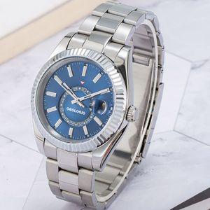 Montre de Luxe Relojes mecánicos automáticos para hombre 42 mm Relojes de pulsera de acero inoxidable completo de acero inoxidable zafiro Luminoso Sky Calendar Reloj Orologio