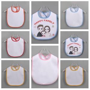 White Blank Newborn Burp Cloths Thermal Transfer DIY Print Saliva Tissue Baby Waterproof Bib Infant Saliva Towel Baby Feeding Cloth E122107