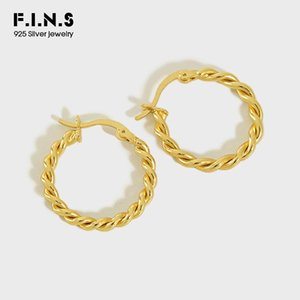 F.I.N.S Classic 925 Sterling Silver Twisted Rope Round Gold Silver Hoop Earrings For Women Korean Fashion Woman Earrings 2020