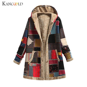 KANCOOLD Casual Long Sleeve Pockets Vintage Floral Printed Outerwear 2020 Winter Warm Basic Jackets Women Hooded Fluffy Coat