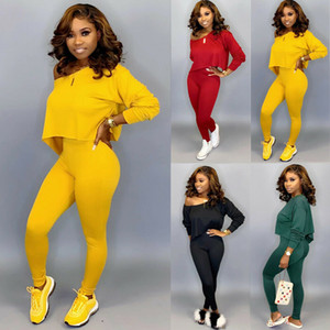 Womens 2Pcs Tracksuits Sets Ladies Solid Active Sports Loungewear Long Sleeve Pullover Loose Crop Tops + Long Pants