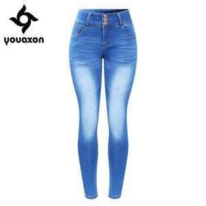 2143 Youaxon Yeni Geldi Artı boyutu Kadınlar Sıkı Push Up Denim Skinny pantolonlar pantolonlar Jeans Soluk