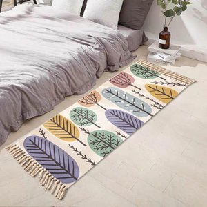 Этнические стиль кисточка напольный ковер Nordic простые хлопчатобумажные льняные ковер дверной коврик для спальни прикроватные коврики для гостиной журнальный столик пола MAT1