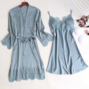 MECHCITIZ silk robe & gown set sexy sleepwear women lingerie dressing summer pajamas lace bathrobe lounge sleep set home pijamas T200111