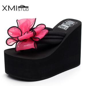 Xmistuo Kalın Kabuk Çiçek Su Geçirmez Sandalet ve Terlik Kayma Bayan Basit Flip-Flop Y200706 ile 12 cm Eğim Artırdı