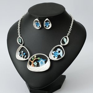 2020 New Silver Plated Earring Enamel Necklace Bohemina Bridal Jewelry Sets for Wedding Party Brides Women's Costume Accessories