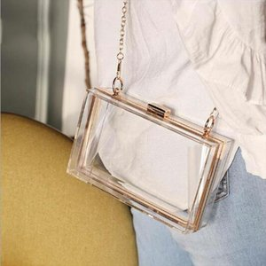 Transparent Ladies Bag 2020 Acrylic Color Box Brand Ladies Evening Dress Portable Messenger Bag Wedding Female Clutch