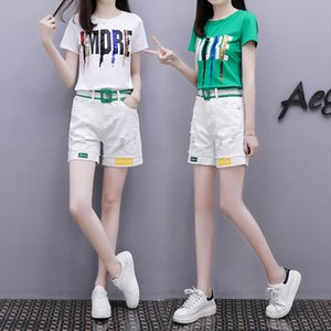 2021 Summer Cotton Womens Track suit Clothes Set 2 Piece Sequin Harajuku Letter Tops White Jeans Shorts Pants Outfit Suit 3XL