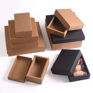 10pcs - Retro Brown Kraft Paper Box DIY Craft Gift boxes for socks towel silk scarves accessory gift packaging1