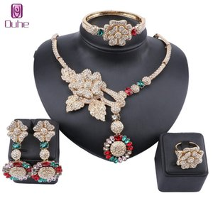 African Jewelry Charm Crystal Necklace Earrings Dubai Gold Jewelry Sets for Women Wedding Bridal Bracelet Ring Jewelry Set